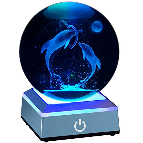 Erwei International 3D Dolphin Night Light Crystal Ball 80mm 3.15' Laser Engraved Porpoise Model Figurine Lamps Decoration Ball for Birthday Christmas New Year Kids Teens Lovers Parents