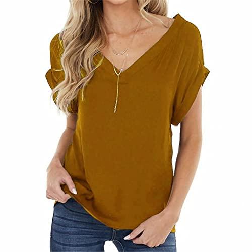 ZFQQ Camiseta de Talla Grande Sexy con Cuello en V Multicolor y Espalda Abierta para Mujer de Primavera y Verano