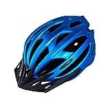 Casco de Bicicleta para Adulto Casco Ciclismo Ajustable Protección de Seguridad con Visera Desmontable y Luz LED Casco Bici Ligero Protector Unisex para MTB Carretera (Azul, 54-61 cm)