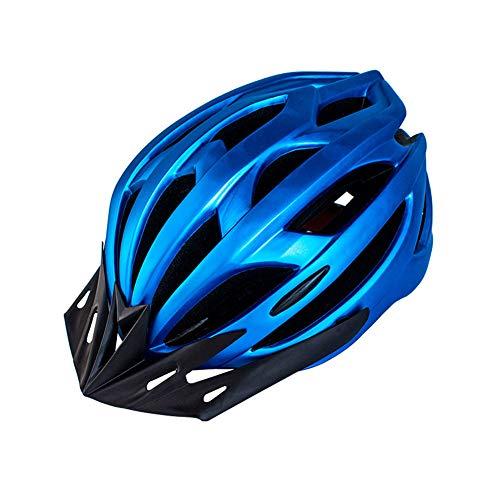 Casco de Bicicleta para Adulto Casco Ciclismo Ajustable Protección de Seguridad con Visera Desmontable y Luz LED Casco Bici Ligero Protector Unisex para MTB Carretera (Azul, 54-61 cm) ✅