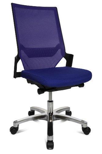 Drehstuhl Autosynchron®-1 Alu blau mit Aluminium-Fußkreuz Rückengestell schwarz ohne Armlehnen
