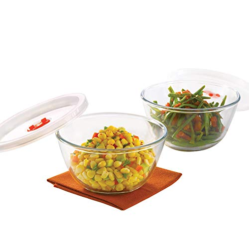 Borosil Basics Glass Mixing Bowl with lid - Set of 2 (500ml)...