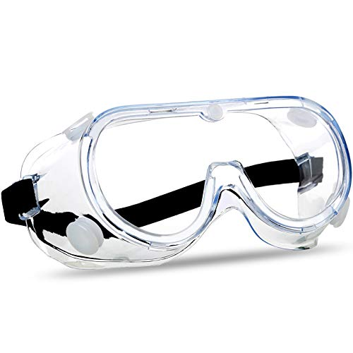 SuperMore Anti-Fog Protective Safety Goggles Clear Lens Wide-Vision Adjustable Chemical Splash Eye Protection Soft Lightweight Eyewear