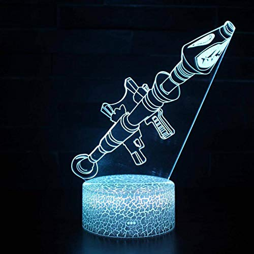 Lámpara de mesa LED 3D Arma de luz nocturna Arma Acrílico Ilusión Disparo de luz nocturna Personaje del juego Superhéroe Decoración del dormitorio Regalo para niños