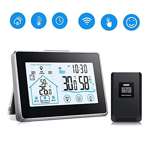 SUNJULY Aussenfühler für Wetterstation, Digitales Thermometer Hygrometer Wetterstation Funk mit Außensensor, Für Innen- und Außenbeleuchtung-Schwarz