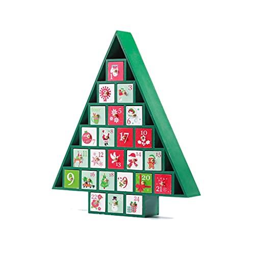 JJH Calendario de Adviento de Madera 24 días, Árbol de Navidad Caja de Regalo Adorno de Escritorio, Calendarios de la Cuenta Regresiva de Navidad 2021 for niños Niñas Niños