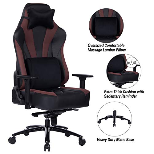 Blue Whale Super Big and Tall Gaming Chair with Massage Lumbar Support,Sedentary Reminder,Metal Base and Aluminum Alloy Armrest High Back PC Racing Office Computer Desk Ergonomic Swivel Task Chair blue chair gaming