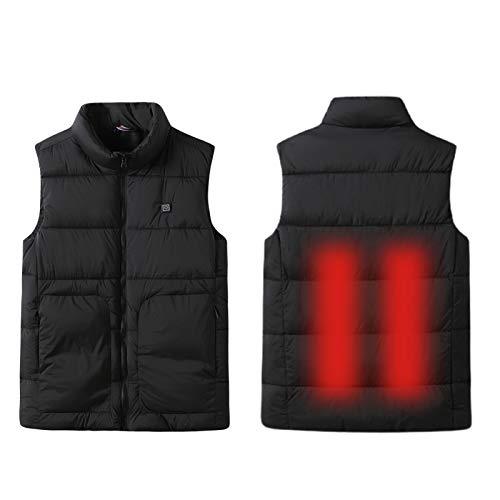 Erhitzte warme Weste Männer/Frauen, 5V Sicherheitsspannung Daunenjacke Große Taschen, Campingjagd und Basketball Spielen Black-XXXXL