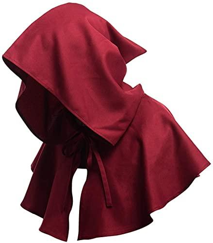 Capa con capucha, para Halloween, medieval, con capucha, estilo vintage, disfraz de monje de bruja, mago y riest (color: rojo vino)