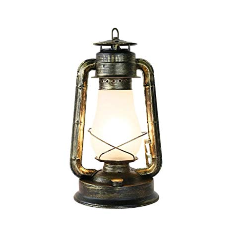 JYDQM Vintage Retro rústico Loft Industrial Forjado del Hierro del Bulbo Tabla Luces de Noche Lámpara de Mesa