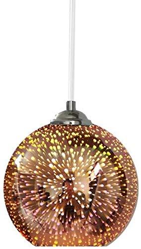 Wall Lamps DLGGO Modern Pendant Light Industrial 3D Fireworks Colour Glass Ceiling Hanging Lamp In Globe Shape, Creative Simplicity Adjustable 1-Light Drop Business Hang Lamp, 11.8' Dia For Loft Bar B