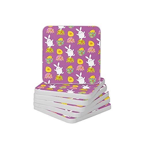 Juego de 6 posavasos absorbentes para bebidas de conejo y pollitos de Pascua, juego de posavasos gruesos y antideslizantes para tipos de tazas y tazas