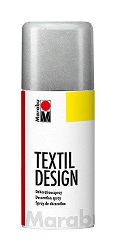 Marabu 17240006782 - Textil Design, Dekorationsspray auf Acrylbasis, schnell trocknend, wetterfest,lichtecht, bedingt waschbeständig,zum kreativen Gestalten auf Stoff,150 ml Sprühdose, metallic silber