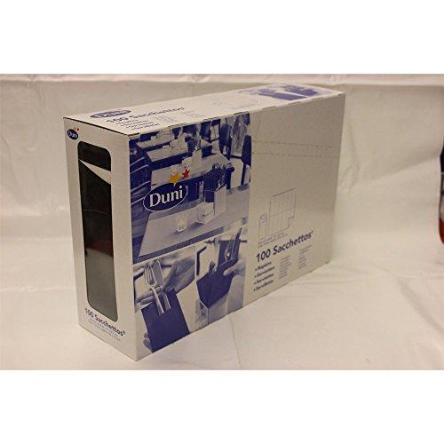 Duni 151853_(1) Bestecktaschen mit Taschentüchern, 8.5 cm x 19 cm, schwarz Sacchetto und weiß (100-er Pack)
