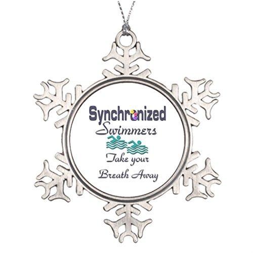Cukudy Gepersonaliseerde kerstboom decoratie gesynchroniseerde zwemmen vrolijke kerst uit de hemel sneeuwvlok Ornament zwembaden