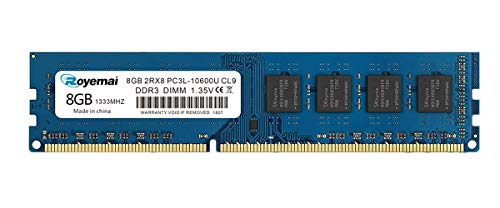 ROYEMAI 8GB DDR3 10600 RAM, DDR3 1333 8GB PC3L-10600U DDR3L Dimm 2Rx8 1.35V/1.5V CL9 Notebook RAM Memory for Laptop Computer