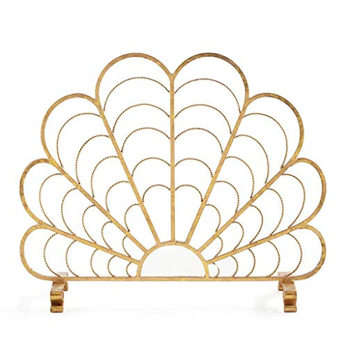 CHHD Gebogene kompakte Gold Funkenschutz Mesh Fireguard Screen Retro Kamin Screen Partition Fire Barrier Indoor Weihnachtsdekoration