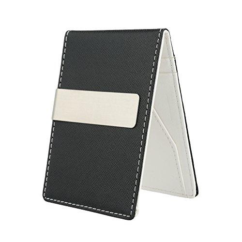 Clip de dinero para hombre, de piel sintética, delgada, para tarjetas de crédito, clip para dinero