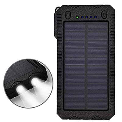 TRONOE Solar Charger,12000mAh Portable Charging Case External Backup Battery Pack Dual USB Solar Phone Charger 2LED Light Carabiner Your Smartphones More