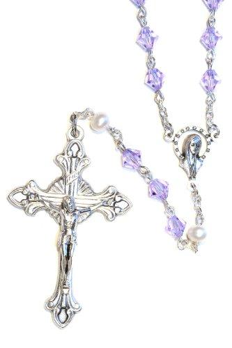 Chapado en plata de rosario fabricado con Alejandrita violeta y blanco nacarado cristales de Swarovski (de junio de)