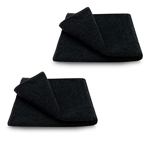 ARLI 2X Handtuch 50 x 90 cm schwarz 2er Set Pack Handtücher 100% Baumwolle 2 Handtücher hochwertige Frottier Frottee klassisch Design Gästetücher Handtuchaufhänger Aufhänger