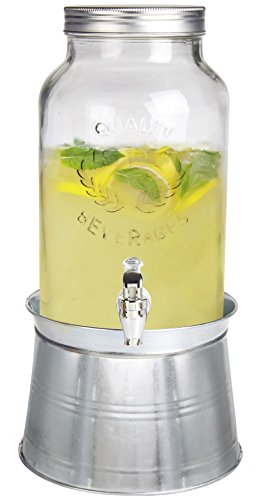 Estilo EST2777 Glass Mason Jar Beverage Drink Dispenser with Ice Bucket Stand, Clear, 1.5 gallon
