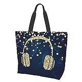 Audífonos con purpurina dorada, con diseño de estrellas, color azul marino, con asa superior, bolsos de hombro grandes para mujeres, viajes, trabajo, compras, comestibles