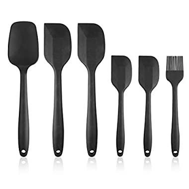 Heat Resistant Silicone Spatula Set - 6 Piece Non-Stick Rubber Spatula Set with Stainless Steel Core - 500F Heat-Resistant Spatula Kitchen Utensils Set for Cooking, Baking and Mixing - Black