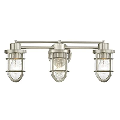 Seeded Glass Bathroom Light Satin Nickel Cage 3 Lt