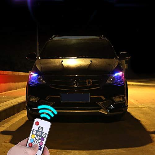 Led Luces del Coche, Impermeable Led Tiras de luz Coche con Control Remoto multifunción Luces Interiores del Coche mejoran la Seguridad de conducción Compatible con Varios Coches