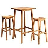 Casaria 3tlg Sitzgruppe Bar Set Granada Teak Holz SVLK Zertifiziert Stehtisch 110cm 2 Barhocker...