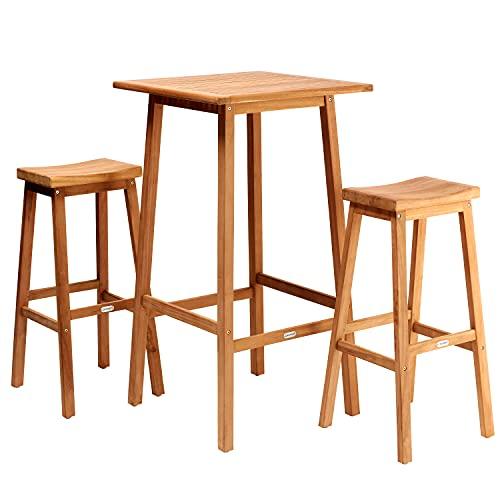 CASARIA Conjunto de Bar Granada 3 pzs 2 taburetes y 1 Mesa Alta de jardín de Madera Teca Set Muebles