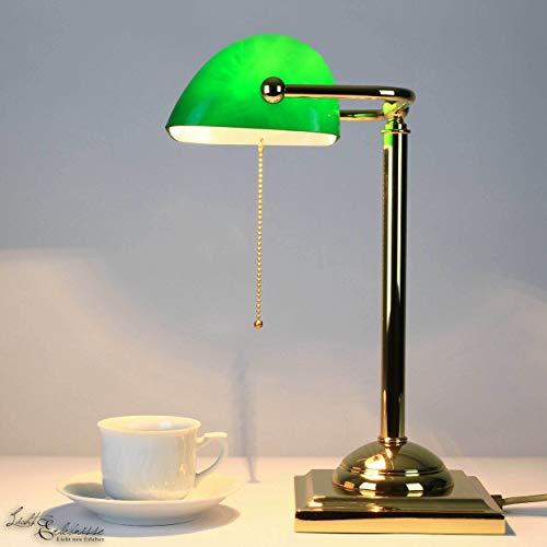 Bankerlampe Grün Glas Gold 24 Karat Jugendstil Handarbeit Zugschalter E27 Design Leuchte Schreibtisch Beistelltisch