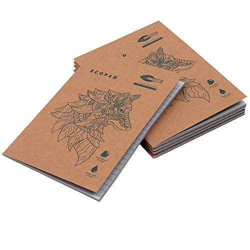 Quaderni Carta Riciclata (5 Pz) - A5 Quaderno Appunti Block Notes per Scuola e Ufficio - Quaderno a Righe con Copertina Marrone per Viaggi - Quaderno A5 Ecologico (60 GSM, 80 Pagine)