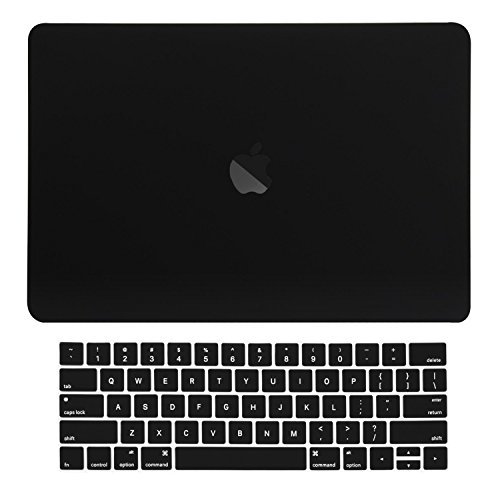 "TOP CASE MacBook Pro 13 inch Case 2019 2018 2017 2016 Release A2159 A1989 A1706, 2 in 1 Signature Bundle Rubberized Hard Case + Keyboard Cover Compatible MacBook Pro 13"" Touch Bar, Black"
