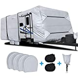 RVMasking Waterproof Travel Trailer RV Cover, Ripstop Camper Cover with 4 Tire Covers & Tongue Jack Cover, 22'1 - 24'