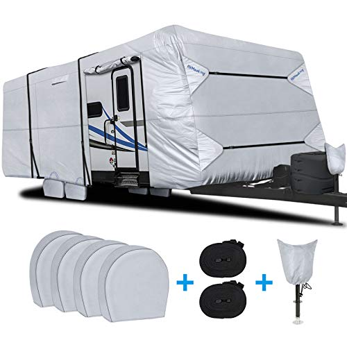 "RVMasking Waterproof Travel Trailer RV Cover, Ripstop Camper Cover with 4 Tire Covers & Tongue Jack Cover, 31'7"" - 34'"