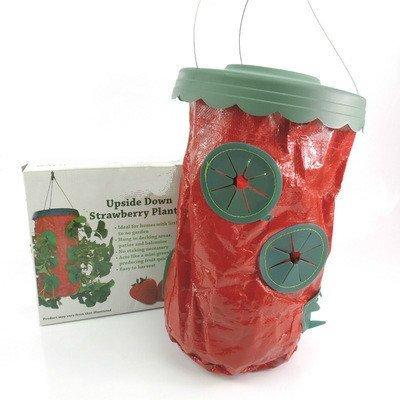 Mitefu Upside Down Hanging Vegetable Strawberry Tomato Planter with Six Holes Mini Fruit Planting Bag for Patio,Garden,Terrace and Balcony