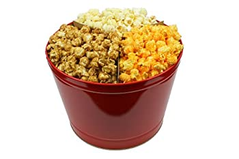 Signature Popcorn - 2-Gallon Solid Red Holiday Reusable Metal Tin - Butter Caramel & Cheddar Cheese