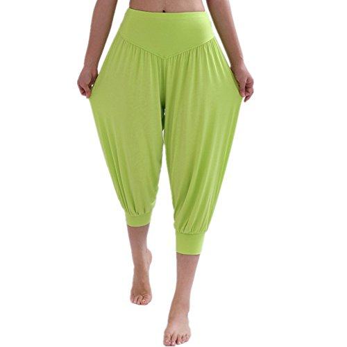 YoYoiei - Pantalones de yoga para mujer, color sólido, elásticos, suaves -  Verde -  Large