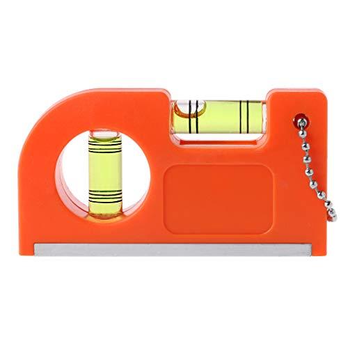 ruiruiNIE Mini Righello di Livello Portachiavi con Base Magnetica V Stripe Livella a Bolla Morsetto a Bolla Mini Portachiavi con Magnete V Stripe Arancione