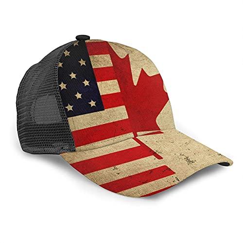 Oaieltj Gorra de béisbol unisex para hombre y mujer, gorra de béisbol ajustable, sombrero de papá casual, Nuevas banderas vintage americanas y canadienses, Talla única