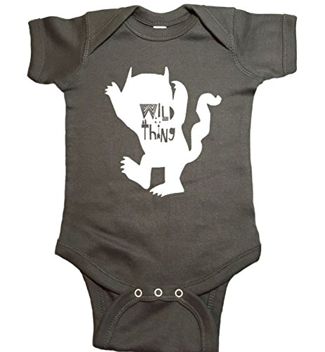 Where The Wild Things are Wild Thing Monster Baby One Piece Bodysuit (12 Month, Charcoal)