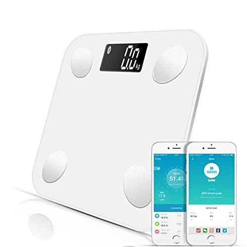 BINGFANG-W Discs Waage Bluetooth Waage, Körpergewicht Personenwaage.Smart-Backlit Display-Skala, Gewicht, Körperfett, Wasser, Muskelmasse, BMI, 180kg, Weiss Abrasive