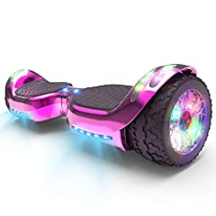 Brand New All Terrain HOVER BOARD Design : Racing Wide Wheels will More Smooth and Stable. Equiped Extra LED Lights make Hoverboard more shining and attractive than other Regular one. Four Top LED Lights + Two Front LED Lights + Two LED Wheels. Safet...