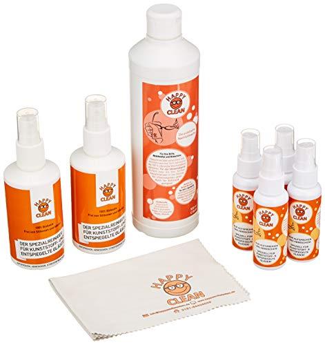 HAPPY CLEAN Familienpaket | Brillenreiniger | Spezialreiniger für Kunststoffgläser, entspiegelte Gläser & Oberflächen | Streifenfreie Sauberkeit | Silikon- & Alkoholfrei | 100% Biobasis