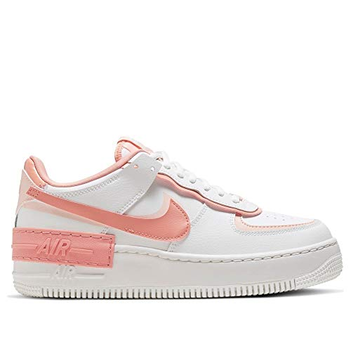 Nike Womens W AF1 Shadow Basketball Shoe, Summit White/PINK Quartz-Washed Coral, 38 EU