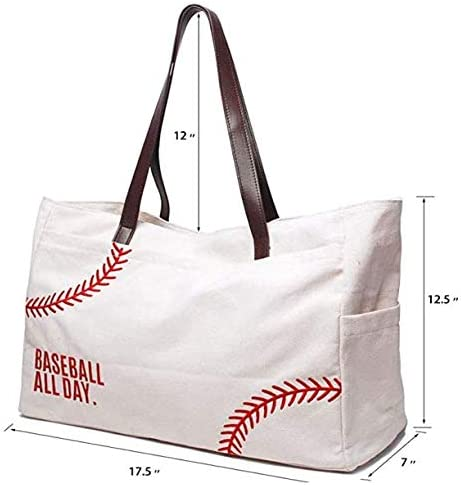 Baseball Print Heavy Duty Large Pocket Tote Bag