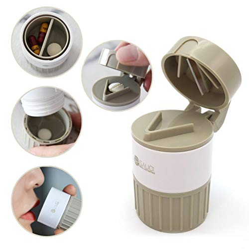 Pill Cutter Medicine Crusher Grinder Grinder Splitter, Multifunction 4 in 1 Portable Round Tablet Pill Pulverizer, Pill Splitter Cutter Powder Organizer Daily or Travel Pill Case Pill Organizer
