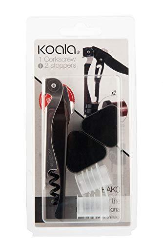 Koala Internacional Hosteleria Set de Sacacorchos y Tapones de Vino, Acero Niquelado, Negro, 9x2.5x18.3 cm, 3 Unidades